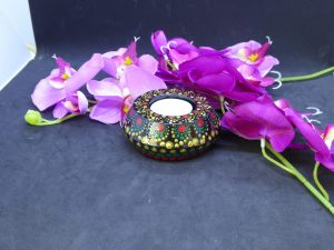 dot painting mandala steen waxinelichtjes