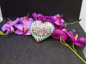 dot painting mandala steen hart flower of life