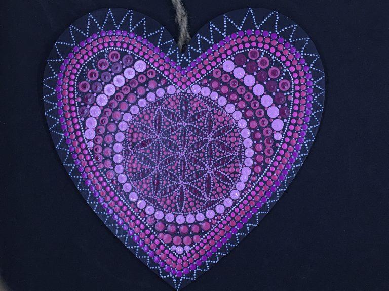 dot painting mandala hart