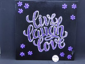 dot painting mandala live laugh love